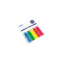 Индекси лепящи неон паус стрелки, 5 цв.x 25 л., 12x50 мм