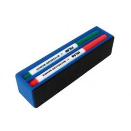К-кт за бяла дъска, магнитна гъба+4 бр.маркери Slim