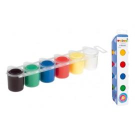 Бои за рисуване с пръсти, 6 цв.х 25 мл, в бурканчета