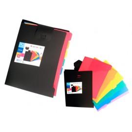 Папка с 6 цветни L джоба, разделителни, А4, Black РР