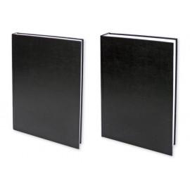 Бележник 20х28 книговинил твърди корици, черен, шит
