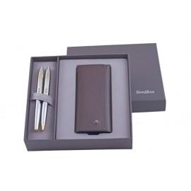 К-кт писалка, химикалка 35 Gold Chrome, кожен калъф в кутия лукс