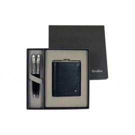К-кт химикалка, авт.молив 39 Black Chrome, кожено портмоне в кутия лукс