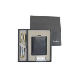 К-кт химикалка, авт.молив 35 Gold Chrome, кожено портмоне в кутия лукс