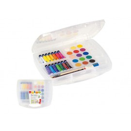 Комплект за рисуване в куфарче, темпера 14 цв.х 25 мл и акварел 15 цв. Ø 30 мм