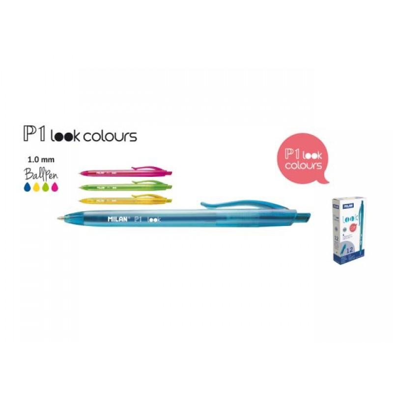 Химикалка авт., P1 Look Colours 1.0 мм, синя