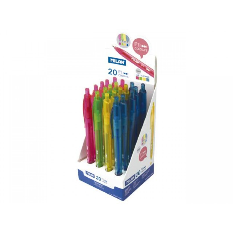 Химикалка авт., P1 Look Colours 1.0 мм, 4 цвята