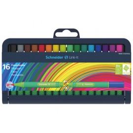 Флумастер Link-It 1.0 мм, 16 цв., кутия със стойка