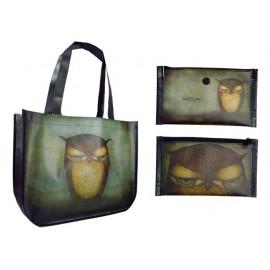 Чанта пазарска сгъваема Grumpy Owl, с джоб с цип, 46х36х16 см