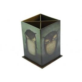 Моливник картонен Grumpy Owl, 4 отделения 7.5х7.5х11.5 см