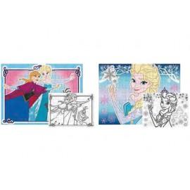 Пъзел двулицев 4 в 1, 4x45 части, Frozen, 30х40 см, за оцветяване