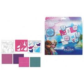 Блок за оцветяване с шаблон и стикери, Frozen, 26х24 см