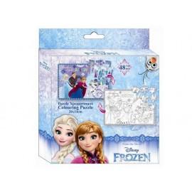 Пъзел двулицев 48 части, Frozen, 14х20 см, за оцветяване