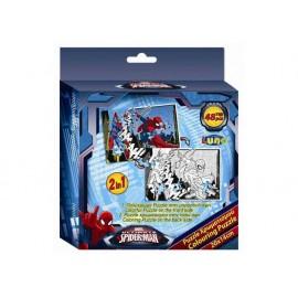 Пъзел двулицев 48 части, Spider-man, 14х20 см, за оцветяване