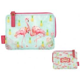 Несесер козметичен плосък Flamingos, 10x15x1 см
