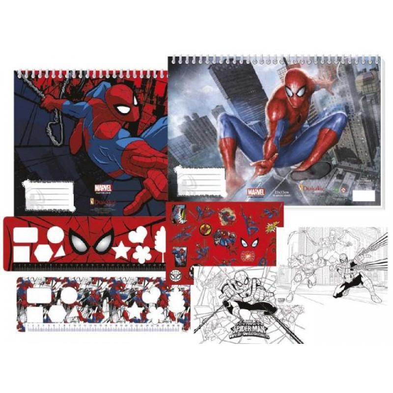 Скицник Spider-Man, 40 л. + шаблони, линийка, стикери и 2 стр. за оцветяване