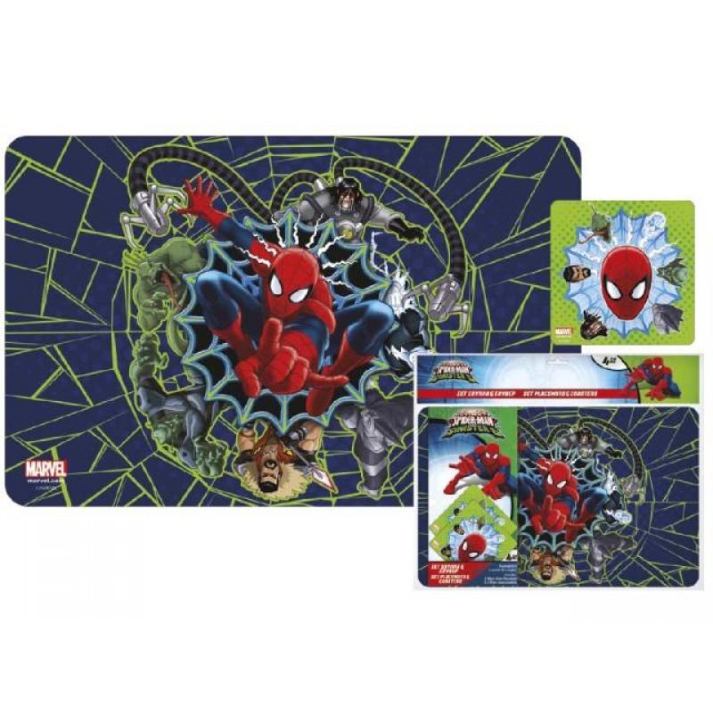 Подложка за бюро Spider-Man, 2 бр., 42х27 см + подложка за чаша, 2 бр.