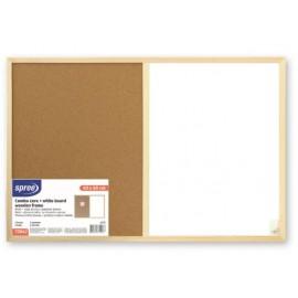 Бяла+корк дъска с дърв.рамка