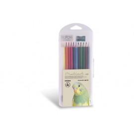 Моливи 12 цв., шестоъгълни, акварел+остр.+гума+четка, PPL кутия, Ø 3.3 мм