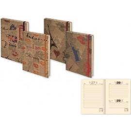 Бележник с дати 14х20 Craft Brown с ластик, 168 л. сл.кост