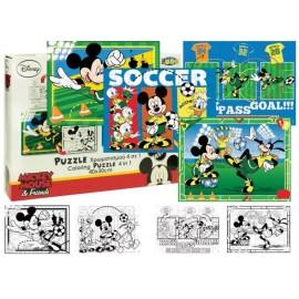 Пъзел двулицев 4 в 1, 4x45 части, Mickey, за оцветяване