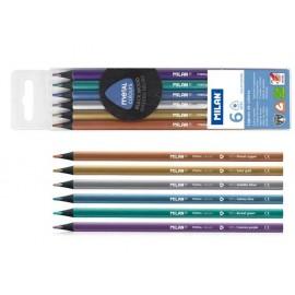 Моливи 6 цв., Metal, черно дърво, триъгълни 1031