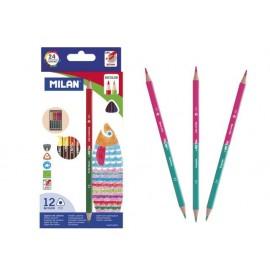 Моливи двувърхи 12 x 2 цв., Bicolor триъг.1131