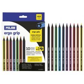 Моливи 10 цв., ергономични+острилка, Ergo Ø 3.5 мм графит, 17.5 см
