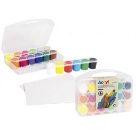 Акрилни бои 18 цв.(12+4 неон+злато+сребро)х 25 мл, в куфарче + 2 платна за рисуване