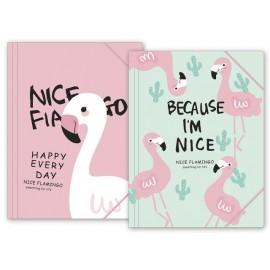 Папка с ластик, А4, PP, Nice Flamingo